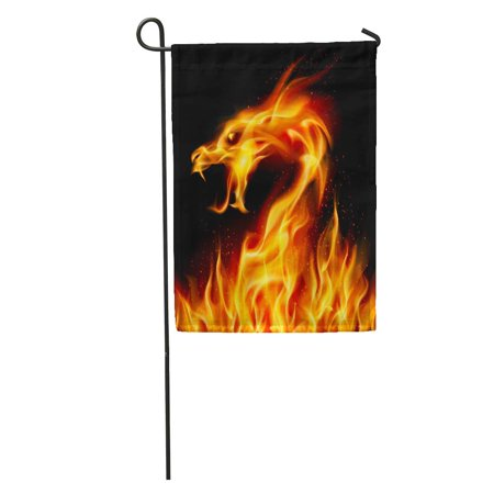 SIDONKU Red Fire Abstract Fiery Dragon Number Two on Yellow Flame Garden Flag Decorative Flag House Banner 28x40 (Fire Flame Dragon)