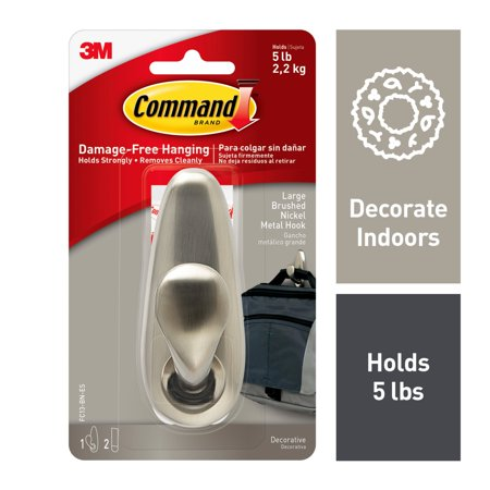 Command Adhesive Mount Metal Hook, Large, Brushed Nickel Finish, 1 Hook & 2 Strips/Pack ()