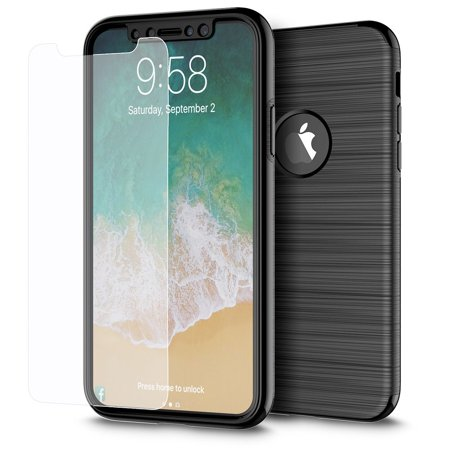 iPhone X Case, by Insten 360 Degree Full Body Rugged Protection Front Back Hard TPU Cover Hybrid Case with Tempered Glass Screen Protector for Apple iPhone X (Against Bumps Drops Scratches) - Black