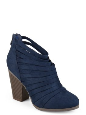 c556e24406c Women s Chunky Heel Strappy Faux Suede Ankle Booties