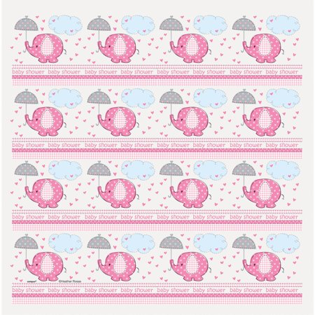 Elephant Baby Shower Wrapping Paper, 5 x 2.5 ft, Pink, 1ct - Baby Shower Wrapping Paper