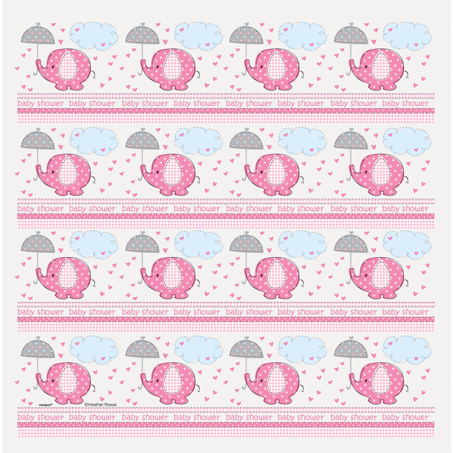 Elephant Baby Shower Wrapping Paper, 5 X 2.5 Ft, Pink, 1ct
