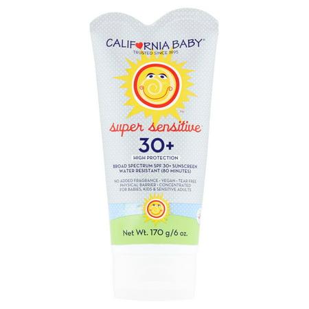 California Baby Super Sensitive Broad Spectrum Sunscreen, SPF 30+, 6 oz