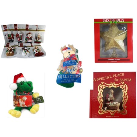 Christmas Fun Gift Bundle [5 Piece] - Brite Star Classic Trims Various  Ornament Set of 7 - Deck The Halls Gold Star Tree Topper 11.5