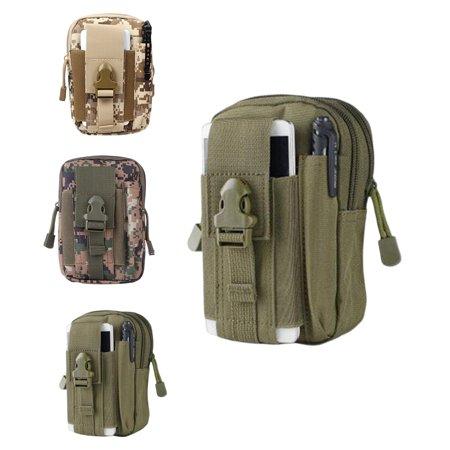 Universal Outdoor Hip Waist Belt Bag Tactical Holster Military Molle Wallet Camping Trekking Pouch Purse Case with Zipper(Army Green) ()