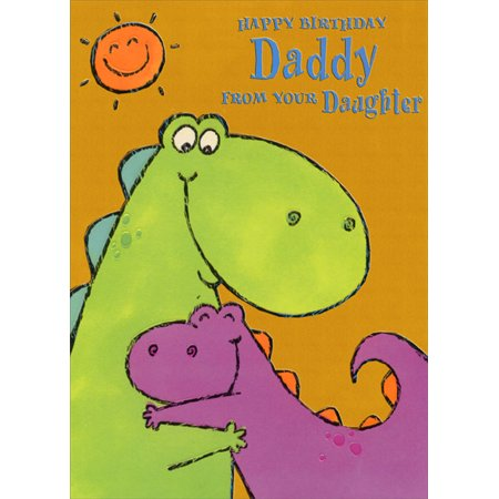 Designer Greetings Purple And Green Dinosaur Hug Daddy From Daughter Birthday Card