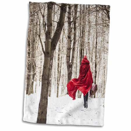 3dRose Little Red Riding Hood Fairy Tale Snowy Woods Winter Day Photo - Towel, 15 by 22-inch ()