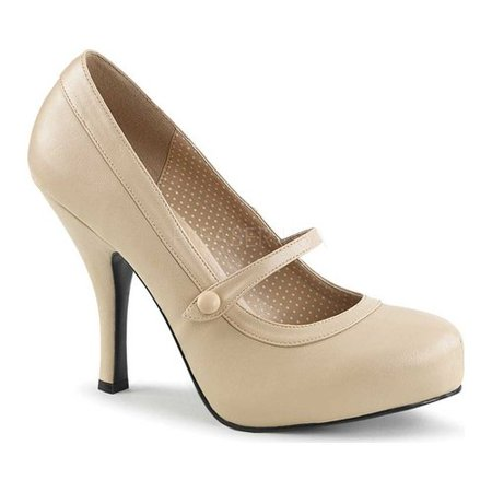 - pleaser pink label women's pinup01/crpu platform pump, cream faux leather, 11 m us