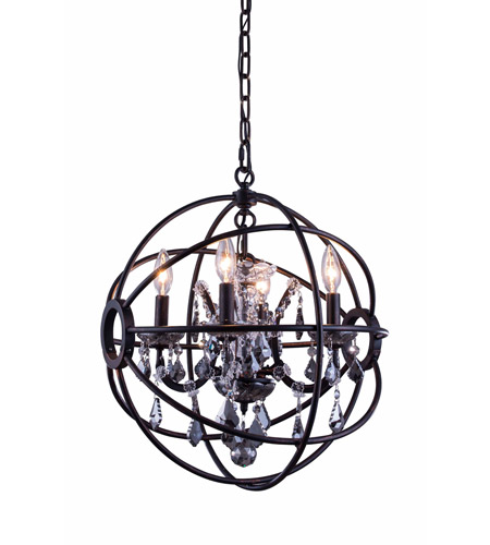 Pendants Porch 4 Light With Silver Shade (Grey) Crystal Royal Cut Dark Bronze size 17 in 240 Watts - World of Classic