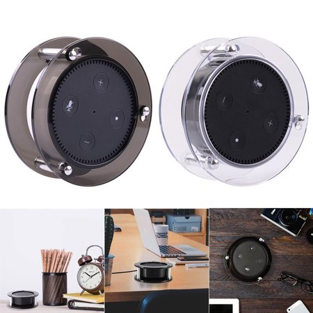 Acrylic Speaker Stand,Ceiling Wall Mount Protective Stand for Amazon Echo Dot (2nd Generation) Smart Home Décor Guard Station For Alexa Pack of 1 (Random Color:Black/Clear)