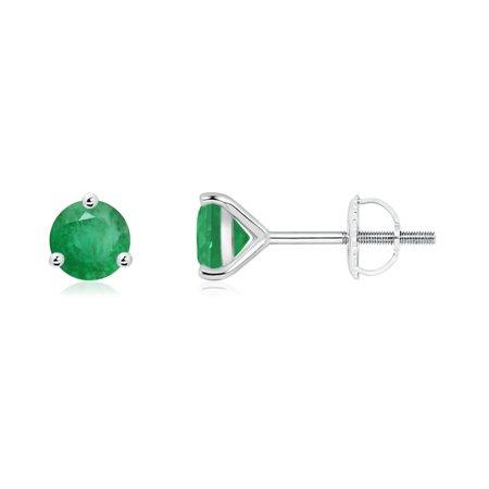 May Birthstone Earrings - Martini-Set Round Emerald Stud Earrings in 14K White Gold (5mm Emerald) - SE0125E-WG-A-5