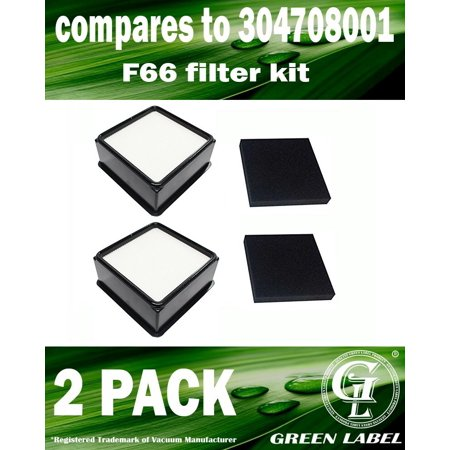 2 Pack For Dirt Devil F66 HEPA and Foam Filter Kit for Upright Vacuum Cleaners (Compares to 304708001). Genuine Green Label Product ()
