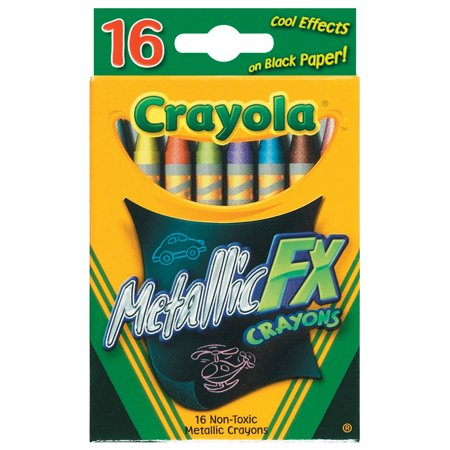 Crayola Metallic FX Non-Toxic Regular Crayon, 5/16 X 3-5/8 in, Assorted Metallic Color, Pack of 16 - Non Toxic Crayons