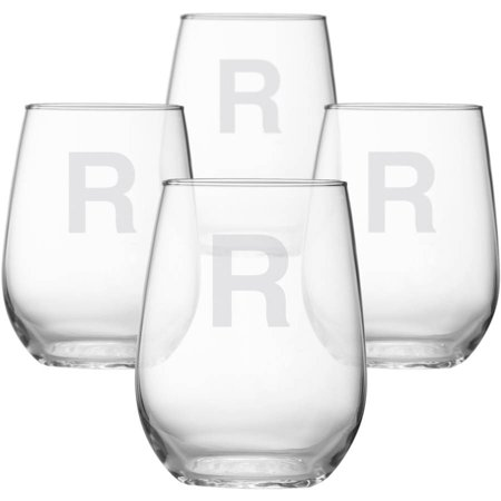 Personalized Classic Monogram Stemless Wine Glasses, Choose Block or Circle - Monogram Glasses