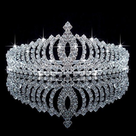 Meigar Wedding Bridal Princess Austrian Crystal Hair Accessory Tiara Crown Veil ()