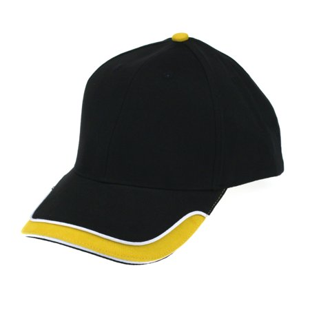 Mens Race Car Low Crown Heavy Brushed Cotton Baseball Cap Black Yellow ()
