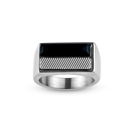 - Rectangle Onyx 316L Stainless Steel Textured Ring