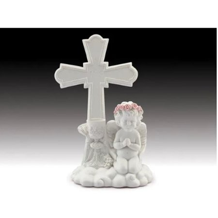 - Cherub Praying With Cross Figurine