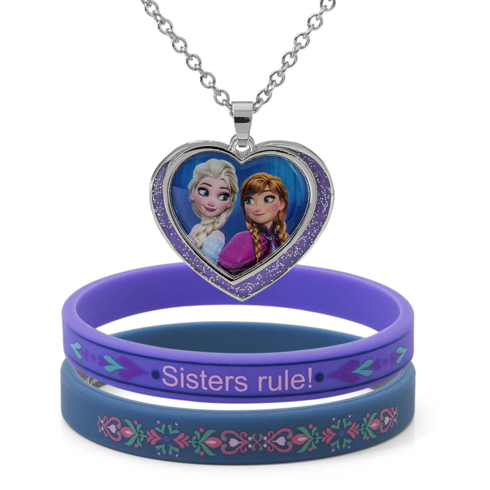 Disney Frozen Elsa and Anna Heart Pendant and Bracelet Set