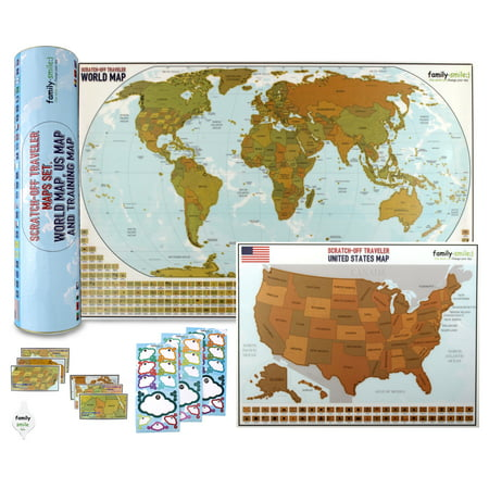Map Scratch Off World 12 X 27 and USA 13 X 17 Maps 2 in 1 Kit ...