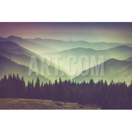 Misty Summer Mountain Hills Landscape. Filtered Image:Cross Processed Vintage Effect. Print Wall Art By Volodymyr Martyniuk