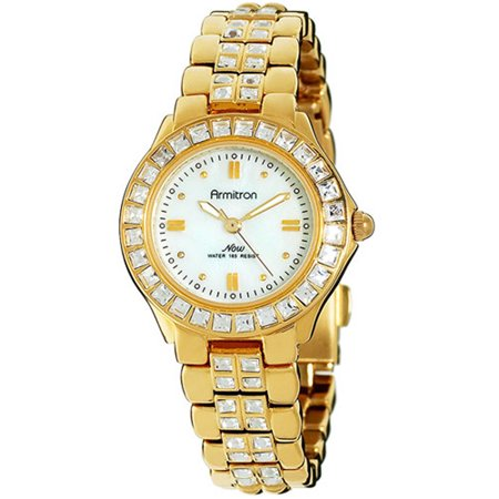 Armitron women 39 s swarovski crystal accented mother of pearl dial dress watch for Swarovski crystals watch