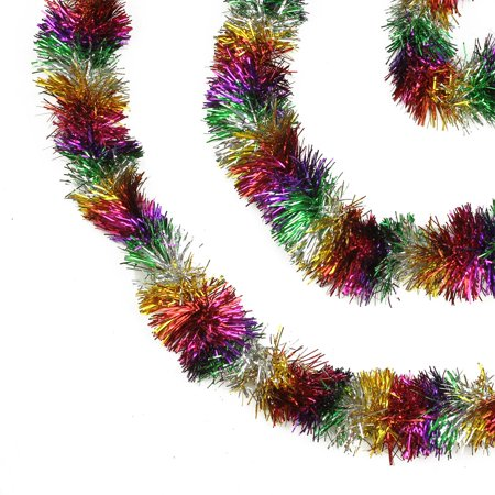 50 festive shiny rainbow colored christmas foil tinsel garland unlit 8 ply