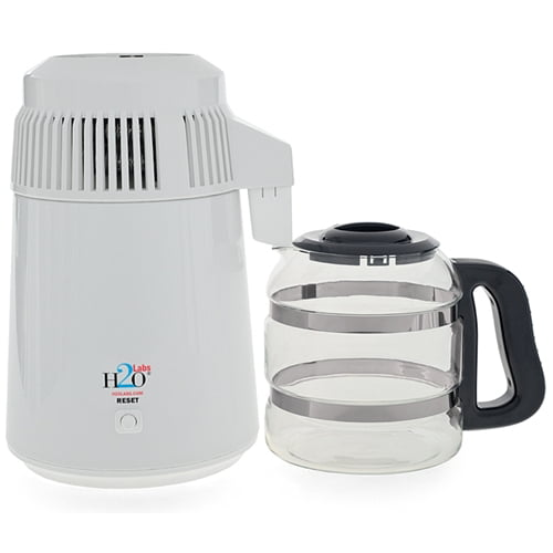 Best in Class White Baked-Enamel Home Water Distiller with Glass Carafe by