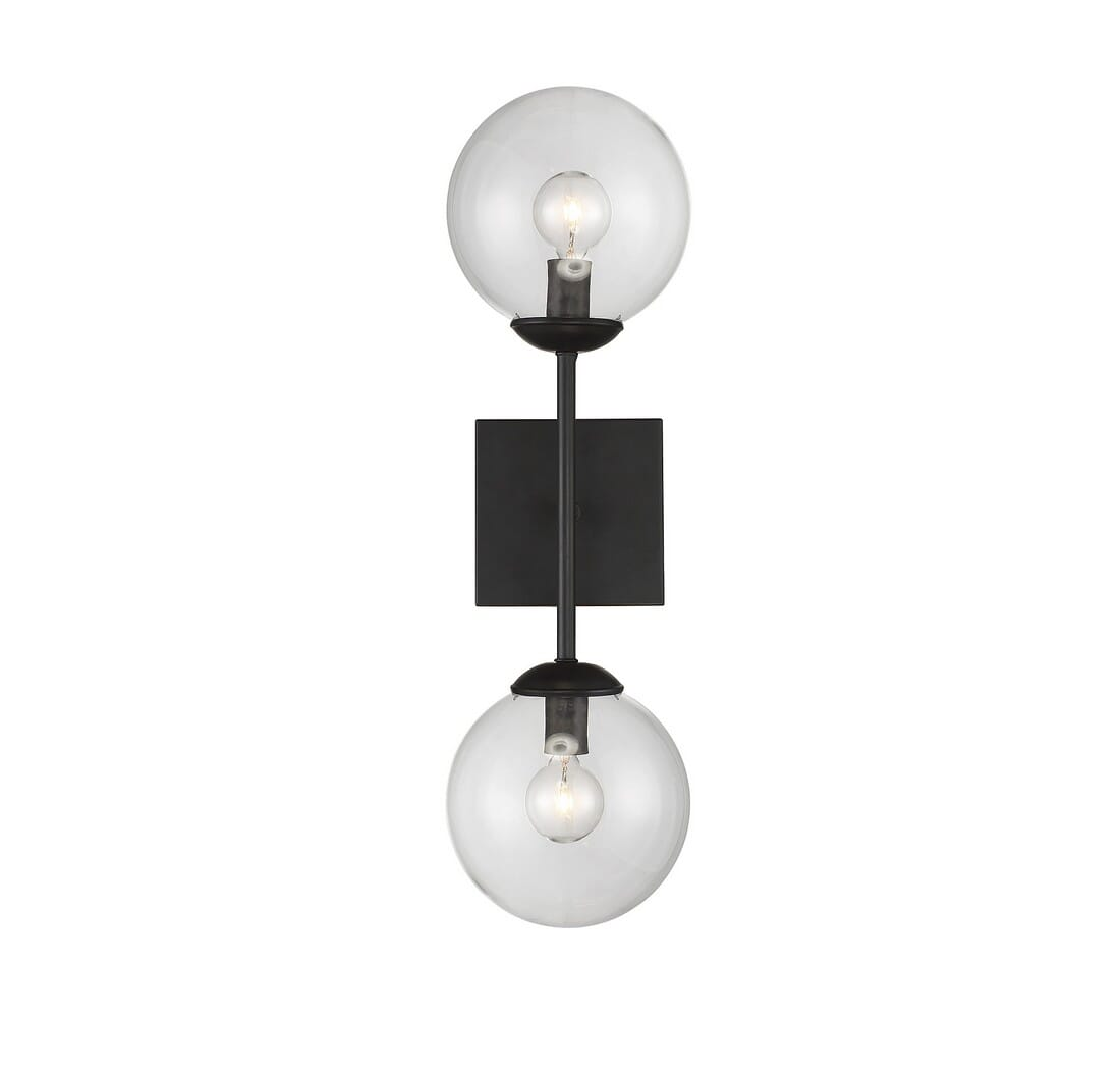 Meridian Lighting 2-Light Wall Sconce in Black M90001-BK