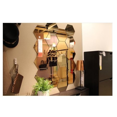 Yosoo 12pcs Decorative Mirrors Self-adhesive Tiles Mirror Wall Stickers Mirror Decor for $<!---->