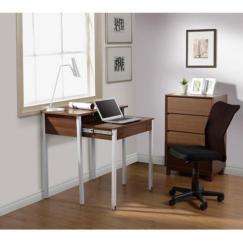 Techni Mobili Retractable Student Desk with Storage, Walnut