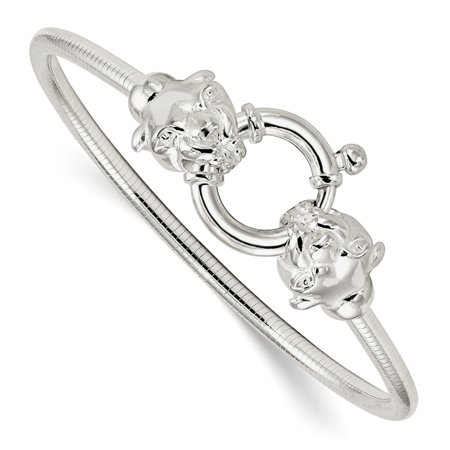 925 Sterling Silver Cat Head Round Omega Bracelet 7.5 Inch Animal Fancy Gifts For Women For Her