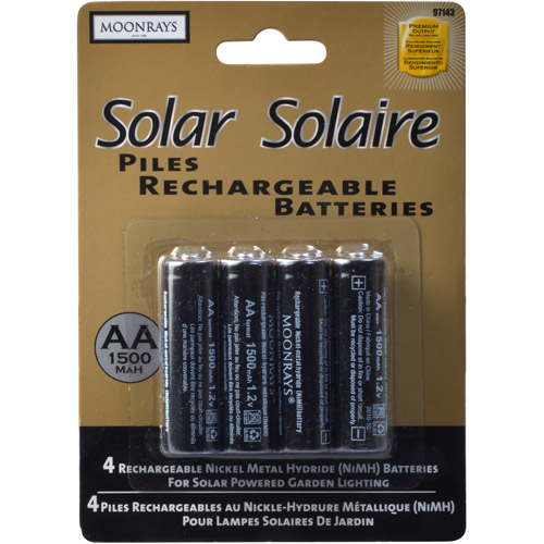 Moonrays 97143 Rechargeable NiMh AA Batteries for Solar Powered Units, 1500-mAh, 4-Pack