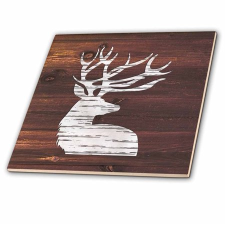 3dRose White Painted Stag with Antlers on Brown Weatherboard- Not Real Wood - Ceramic Tile,