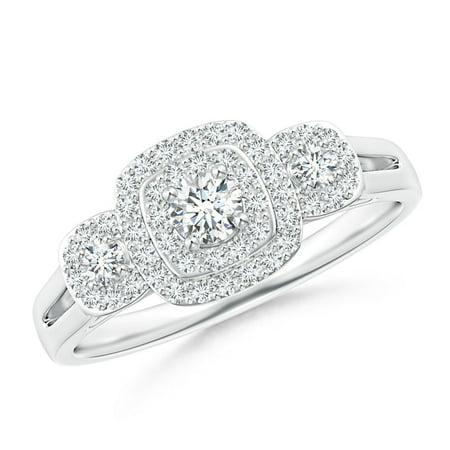 April Birthstone Ring - Cushion Framed Diamond Three Stone Halo Engagement Ring in Platinum (3.3mm Diamond) - SR1522D-PT-GHVS-3.3-5.5