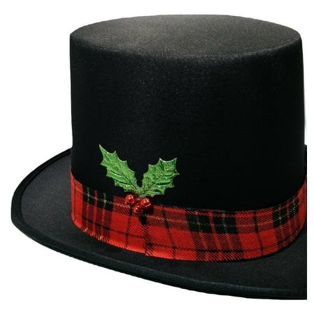 Christmas Caroler Snowman Top Hat Costume Red Plaid Band Mistletoe Holly Berries - Bah Humbug Christmas Hat