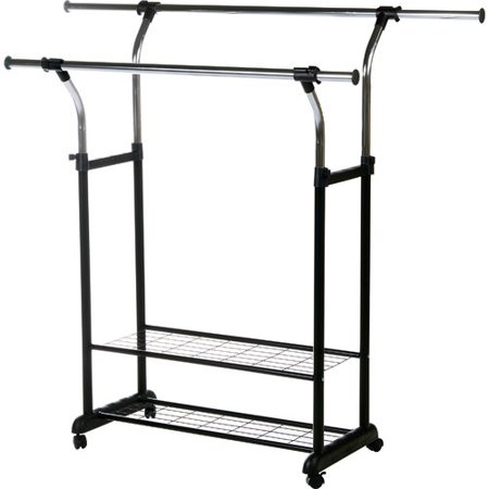 Utility Shelves Walmart Cool Rod Desyne Mobile 60'' W Double Rail Clothes Rack With Utility