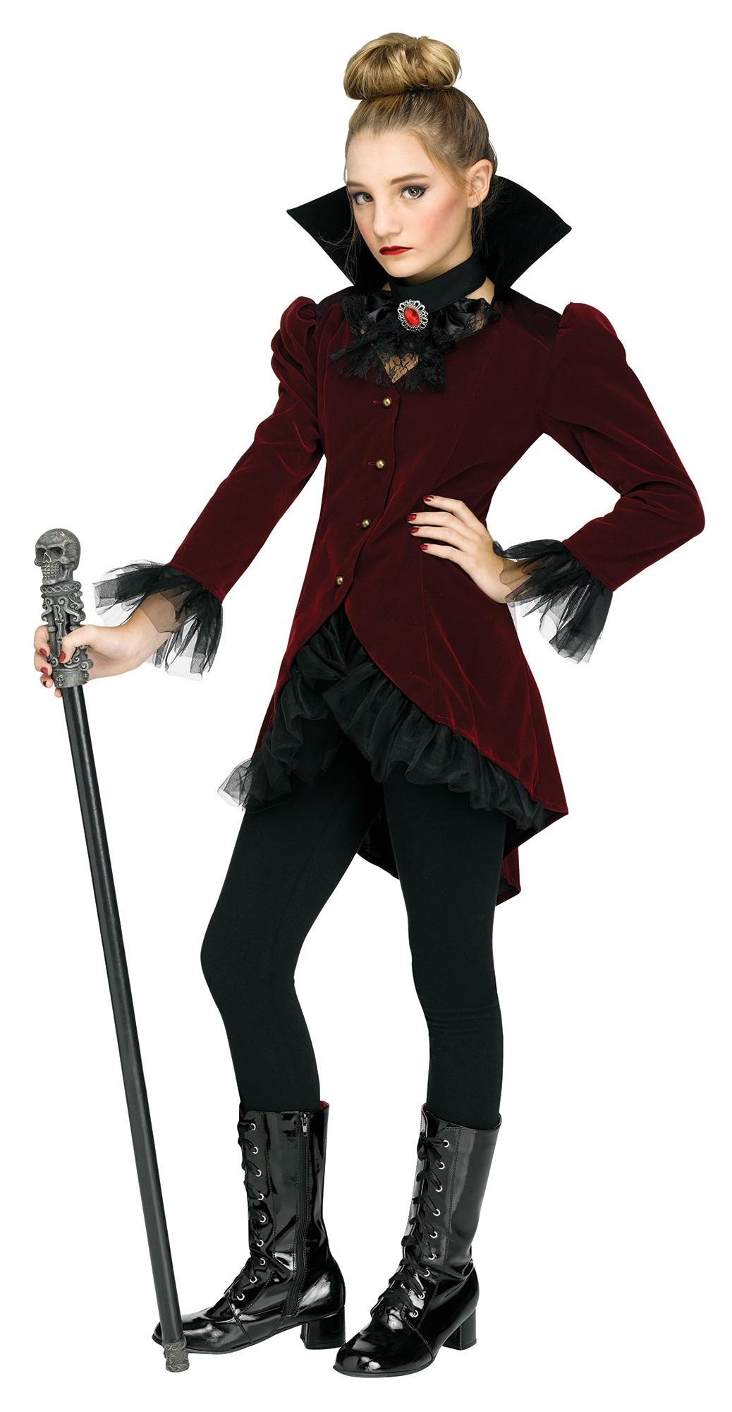 vampire dolly halloween costume girls tween deep burgundy red coat n jabot