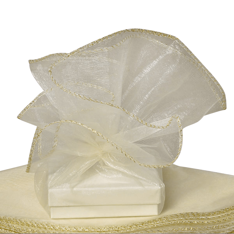 Ivory Sheer Organza Circles With Gold Edge 18"