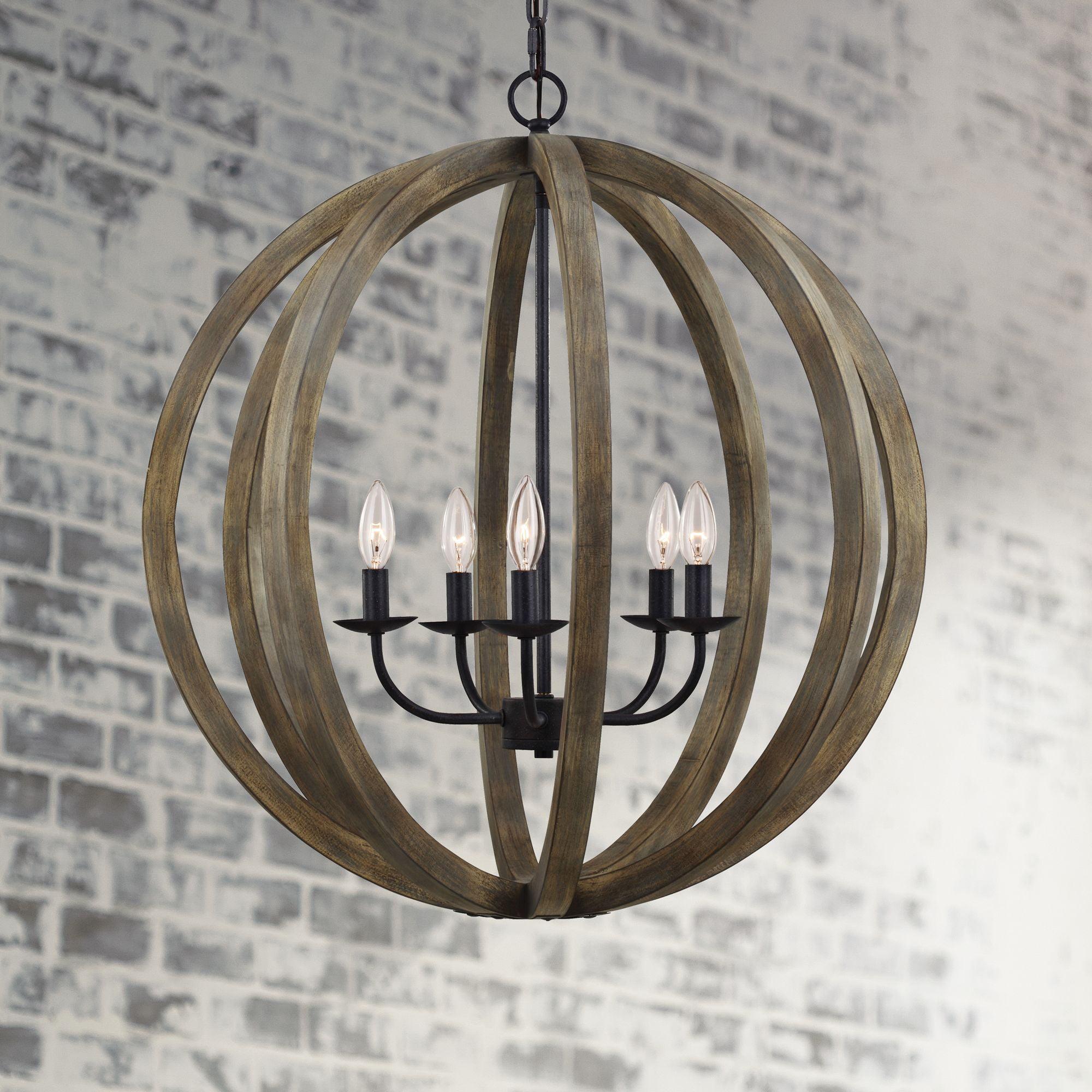 "Feiss Allier 26""W Weathered Oak Wood Orb Pendant Light by Feiss"
