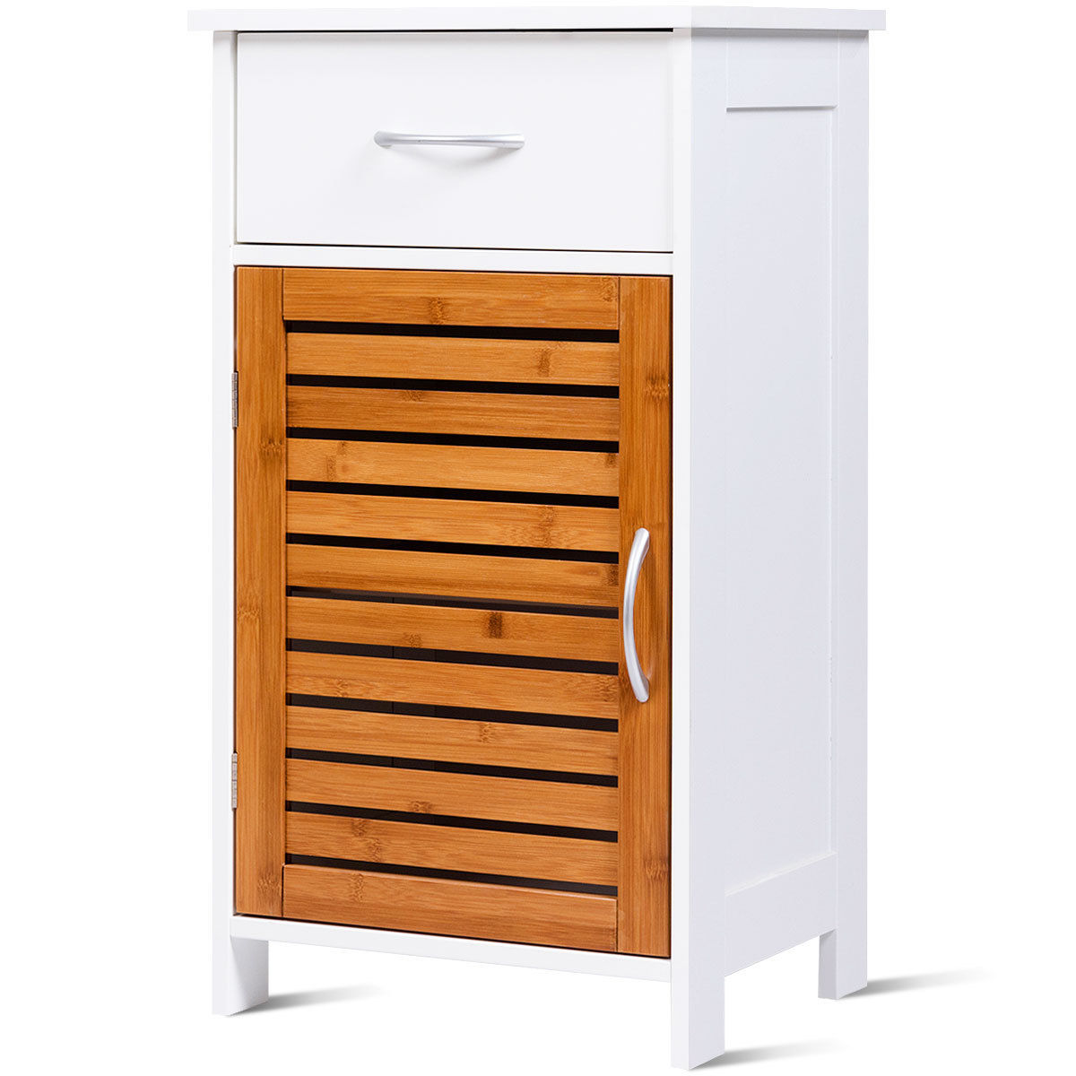 Gymax Floor Cabinet Standing Storage Wall Shutter Door Bathroom Organizer