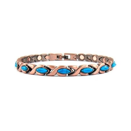 Oval XOs Women's Copper Link Magnetic Bracelet With Turquoise Cabochons and Magnet On Every (Turquoise Link Bracelet Set)