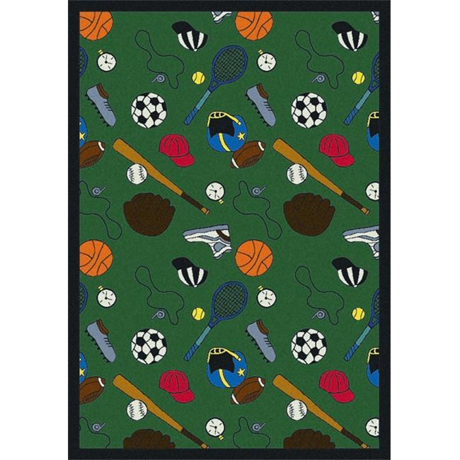 """Joy Carpets Games People Play - Gaming & Sports Area Rugs Multicolored-Sport, 7'8"""" x 10'9"""", Green"""