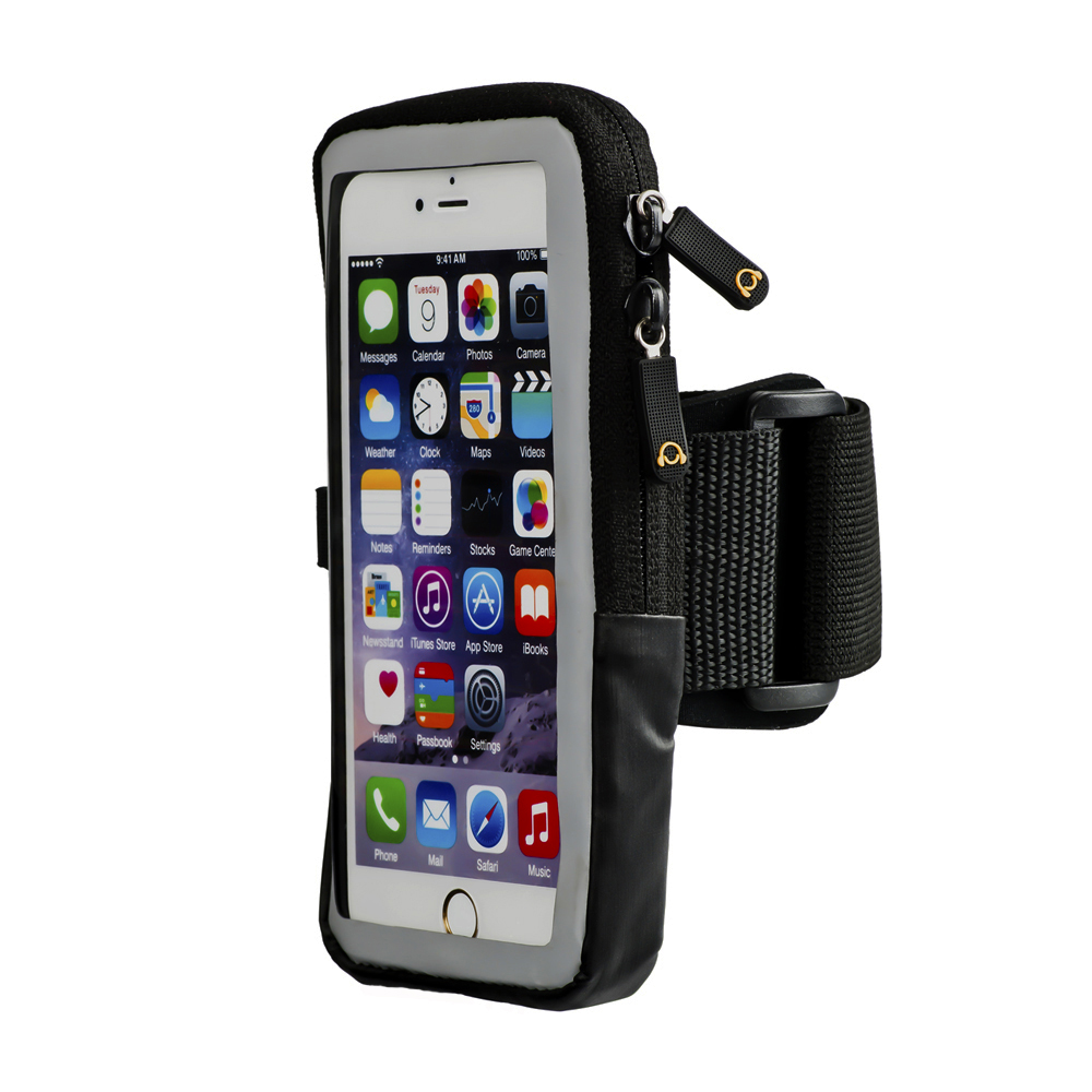 Armband for iPhone 7, 6s, 6, Slim Case Compatible Sports Running Armband with Flexible Arm Strap, Key Holder, ID/Card Slot, Zippered Pouch for iPhone 6s, 6, 5, SE, Galaxy S7, S6 edge, S6 and More