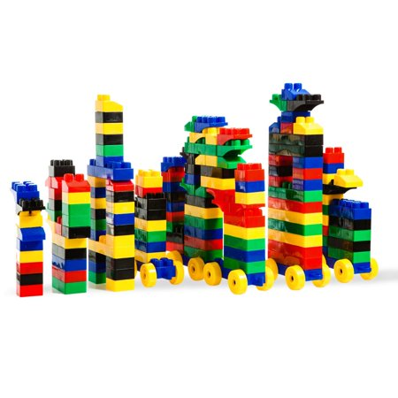 150 Piece Large Multi Colored Building Block Set with Wheeled Train Pieces and Carry Bag by Dimple