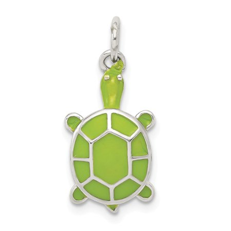 Green Enamel Rose - Roy Rose Jewelry Sterling Silver Green Enameled Turtle Pendant