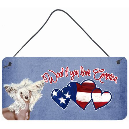 Caroline's Treasures Woof if you love America Chinese Crested by Lyn Cook Painting Print Plaque