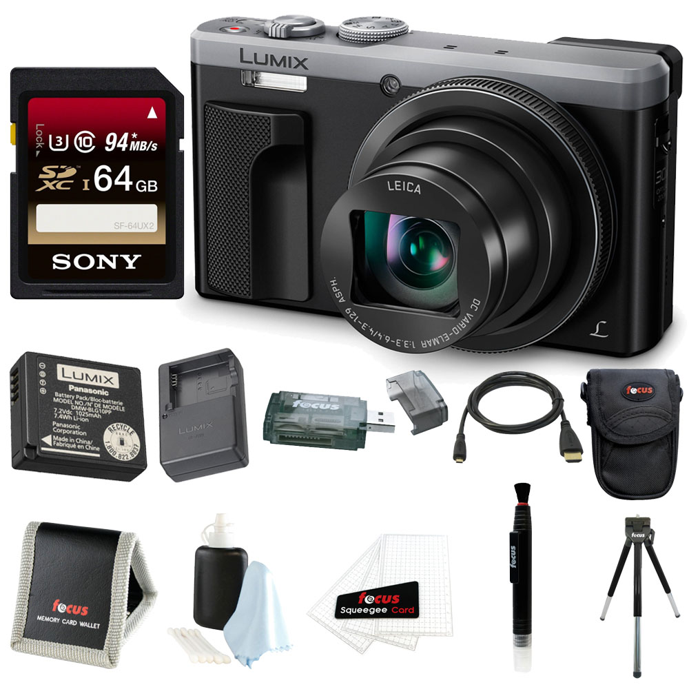 Panasonic LUMIX ZS60 4K Digital Camera (Silver) + 64GB Card + Battery & Charger Travel Pack + Accessory Bundle