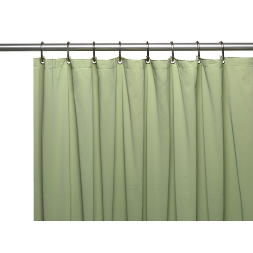 Mildew-Resistant, 10 Gauge Vinyl Shower Curtain Liner w/ Metal Grommets and Reinforced Mesh Header in Sage