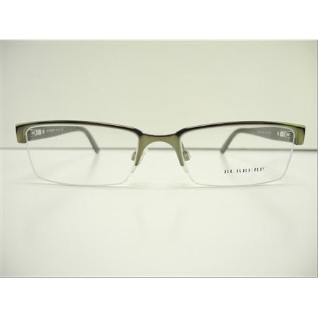 Like New Burberry B 1156 1079 Gunmetal Semi-Rimless Eyeglasses (Burberry Rimless Eyeglasses)